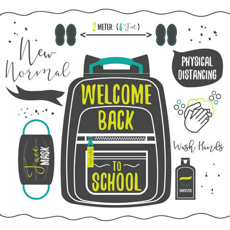 Black silhouette Welcome Back to School and new normal design with backpack, face mask, hand sanitizer, and washing hands icons on white background