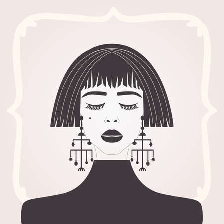 Abstract black silhouette beautiful lady looking down with short hair, bangs and big dangling earrings on pink gradient background Ilustração