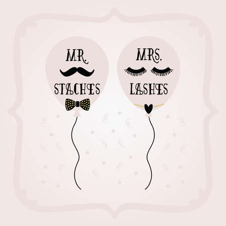 Black and golden abstract Mrs. Lashes and Mr. Staches balloons and frame wedding card on pink gradient background Ilustração