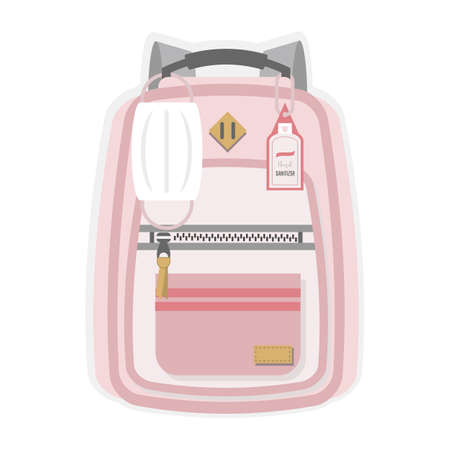 Pink kids new normal back to school backpack with hanging medical face mask, hand sanitizer, pocket and zipper flat design on white background Ilustração