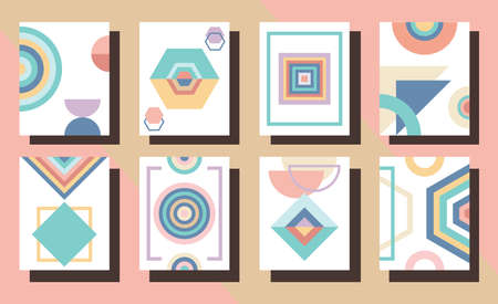 Modern pastel colorful abstract and geometrical vertical rectangle frames and backgrounds set on pink Ilustração