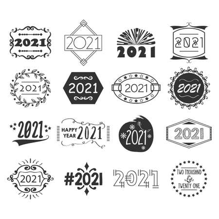 Black year 2021 number creative design emblem and motifs set icons on white background Ilustração