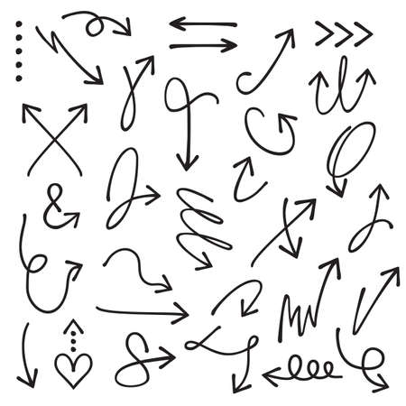 Black curvy and odd shape hand drawn direction arrows and pointers set on white background