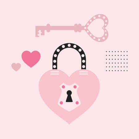 Pink cute cartoon dotted heart shape key and closed lock icons card