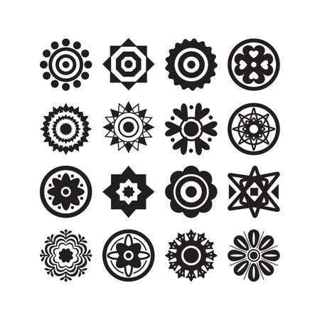 Black cute isolated different style flower motifs icons set on white background