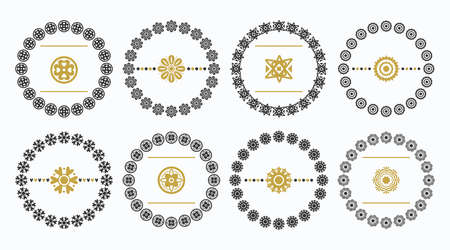 Black and golden cute floral decorative circle and round emblems icons design element set on white background - Group 2 Ilustração