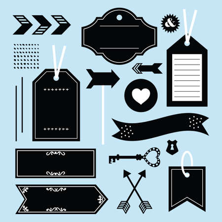Black empty and blank tags, labels, and emblems icons design element set on blue background