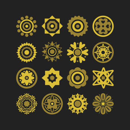 Golden cute isolated different style flower motifs icons set on black background Ilustração