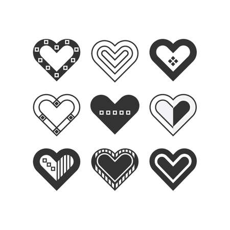 Trendy black silhouette cute assorted isolated childlike hearts icons set frame Ilustração