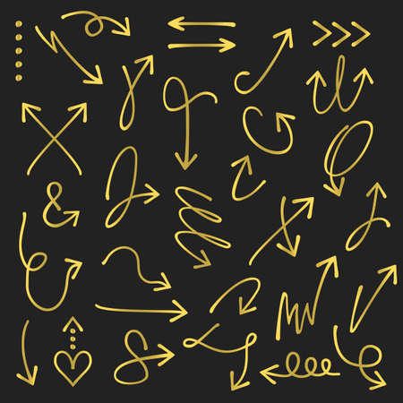 Golden curvy and odd shape hand drawn direction arrows and pointers set on black background