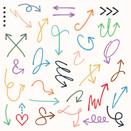 Colorful curvy and odd shape hand drawn direction arrows and pointers set on off white background