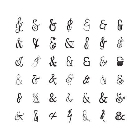 Black modern and trendy thin line stylized and isolated ampersand icons set on white background
