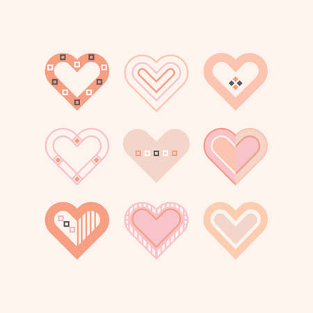Trendy pink girly color cute assorted baby hearts icons set frame