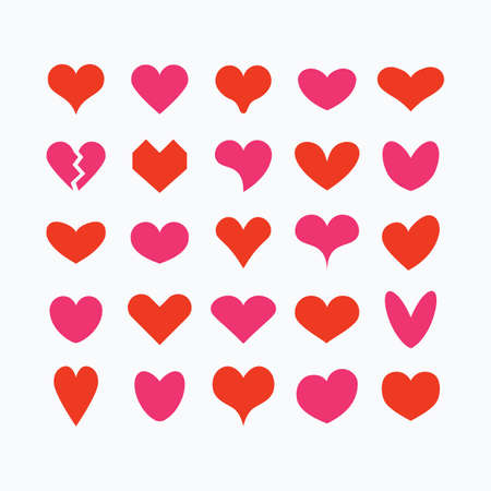 Red and pink cute solid and isolated different beautiful heart shapes icons set on white background