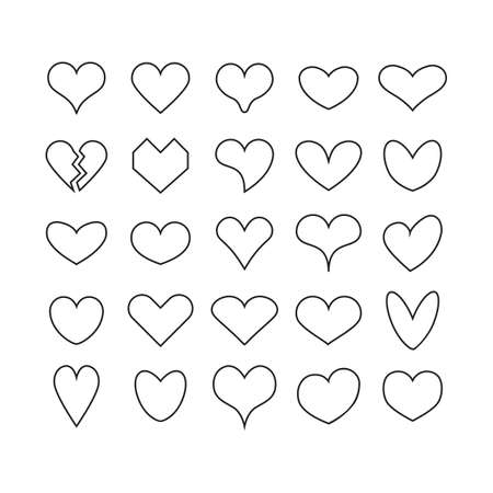 Black ink cute line and isolated different beautiful heart shapes icons set on white background