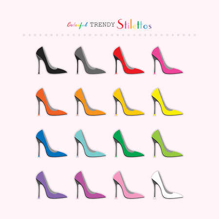 Complete rainbow color sexy stilettos high heels icons set on light pink background