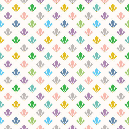Cute trendy and colorful geometrical art deco flower petals pattern on white background
