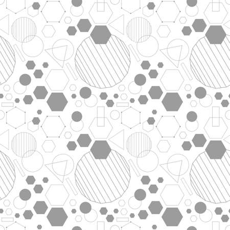 Line and isolated gray color dense geometrical shapes icons seamless pattern on white background