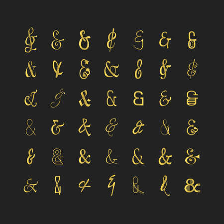 Golden modern and trendy different shapes of thin line stylized and isolated ampersand icons set on black background Ilustração
