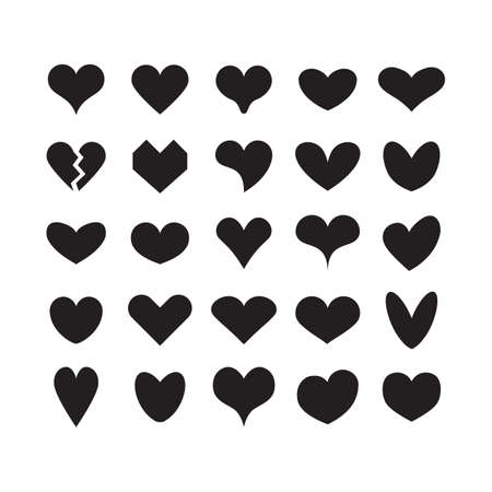 Black ink cute silhouette and isolated different beautiful heart shapes icons set on white background