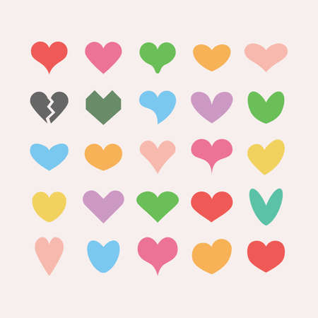 Trendy and colorful cute solid and isolated different beautiful heart shapes icons set on pink background Ilustração