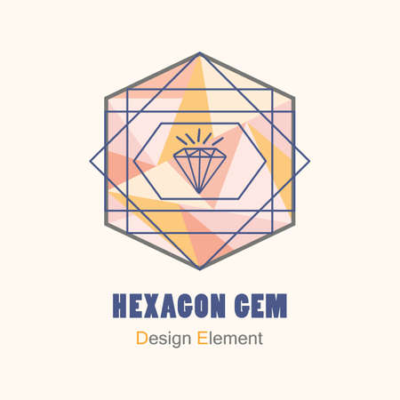 Abstract flat pink and orange triangle pattern inside hegzagon shape and blue geometric lines with gem icon design element