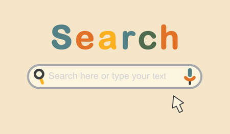 Trendy and colorful cute Search Bar with magnifying glass, voice, and cursor pointer icons on pink background interface design elements