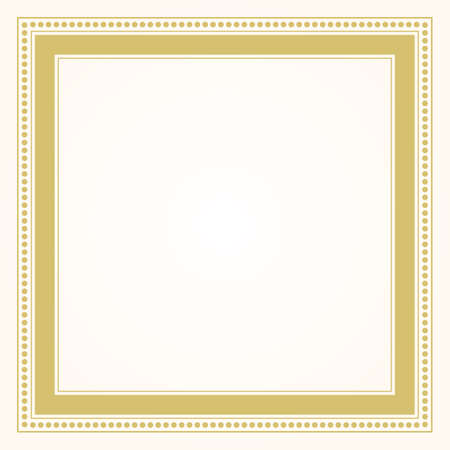 Trendy and stylish simple formal golden square shape line and dots border frame blank card design element