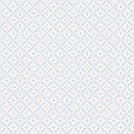 Gray abstract geometrical circles and X signs on white background seamless pattern background design element Ilustração