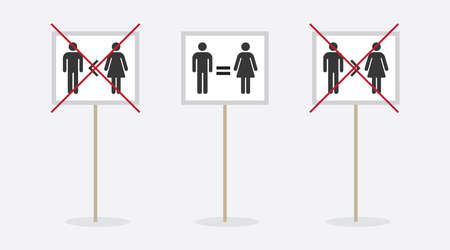 Man and woman conceptual gender equality sign icons placards set on white background