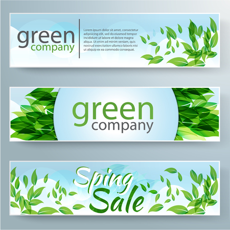 summer nature: Set of vector banners with fresh green leaves for green company. Spring or summer nature background