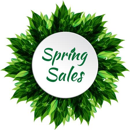 Spring sale frame with leaf. Vector illustration Vector