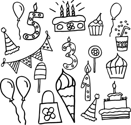 celebration party: Birthday celebration attributes vector icons. Party background Illustration