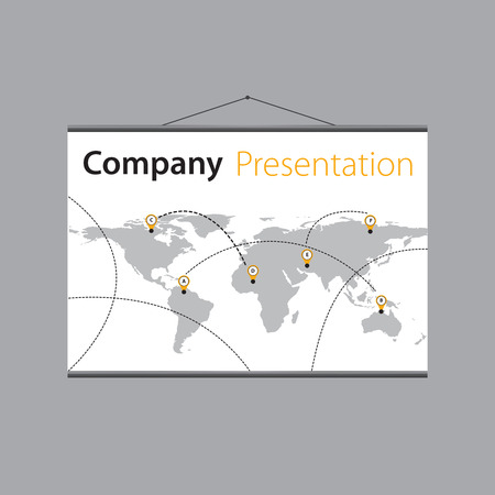projector screen: presentation of the companys global delivery on projector screen. Illustration