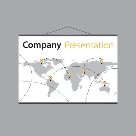 projector screen: presentazione della consegna globale companys sullo schermo del proiettore.