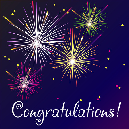 Vector Illustration of Fireworks for congratulation card