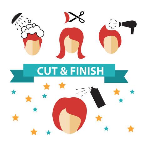 Icons in flachen Design-Stil mit Haarbehandlung, nur wenige Schritte, um Haare zu verhindern fallen