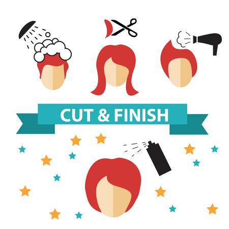 hair cut: Icons set in flat design style with hair treatment, steps to prevent hair falling