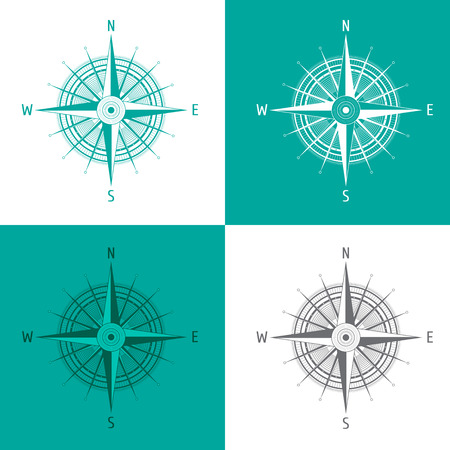 windrose: Detailed set Compass Windrose isolated on white. Vector illustration.