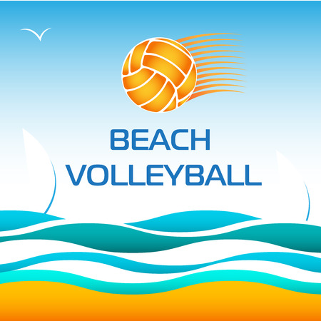 volleyball: Beach Volleyball Bright Vector Design Element on Sea wave Background