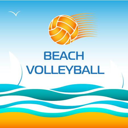 pelota de voleibol: Voleibol de Playa brillante vector elemento de dise�o en la Onda del mar de fondo Vectores