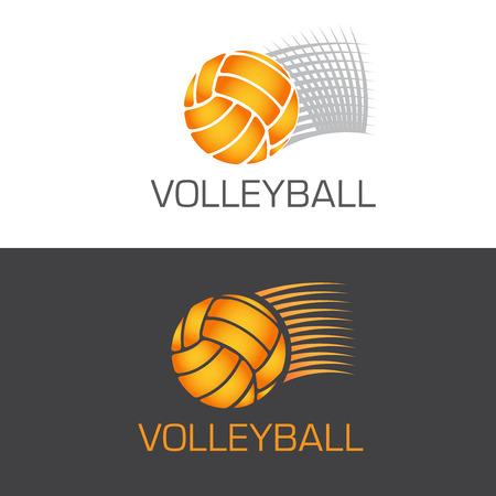 pelota de voleibol: El exceso de velocidad logo voleibol pelota volando por el aire con las l�neas de movimiento, ilustraci�n vectorial
