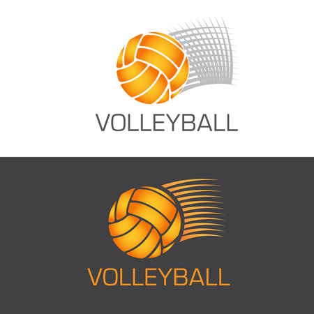 Speeding volleyball logo ball flying through the air with motion lines, vector illustration