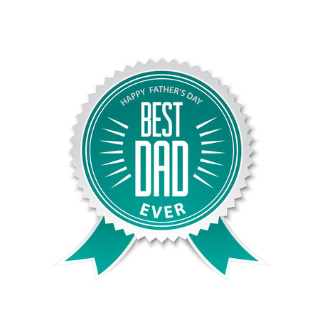 first day: Best dad award ribbon rosette with text specially for fathers day designs Illustration