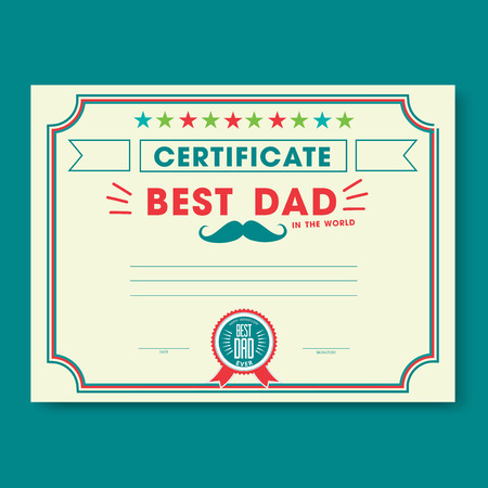 Happy fathers day card vintage retro. Worlds best dad certificate template
