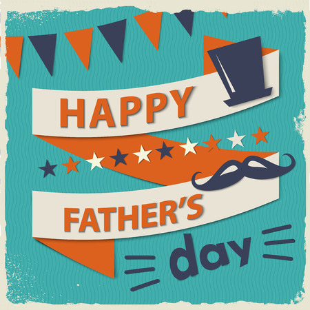 Happy fathers day card vintage retro with ribbon and text