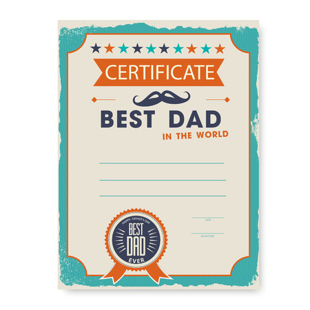 gift certificate: the template of the certificate diploma congratulations for fathers day in vintage retro style Illustration
