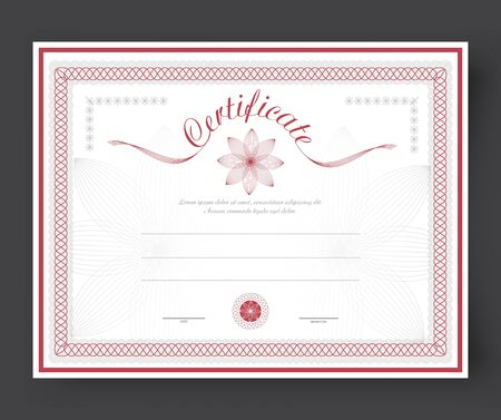 awarded: template certificates with flowers and rosette to be awarded. Vector illustration Illustration