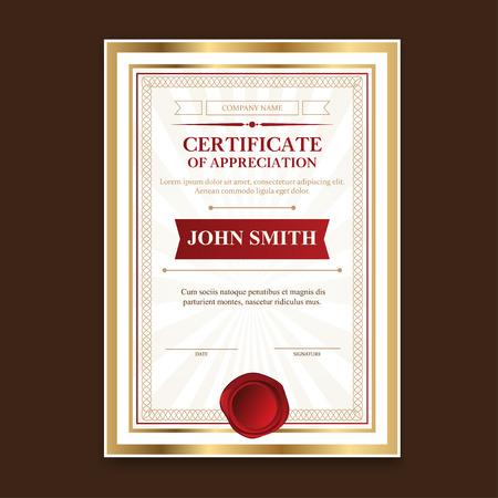 certificado: Certificados plantilla de oro con una impresi�n del vintage para la ceremonia y felicitaciones. ilustraci�n vectorial. Vectores
