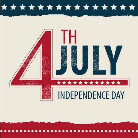 declaration of independence: POSTCARD IN CELEBRATION OF INDEPENDENCE DAY IN THE UNITED STATES OF AMERICA 4TH OF JULY. VECTOR ILLUSTRATION Illustration